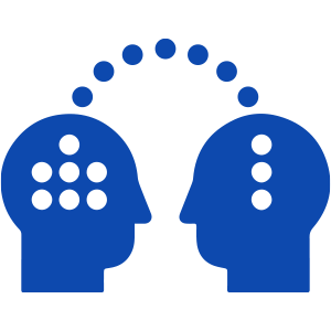 Two heads with dots going between them