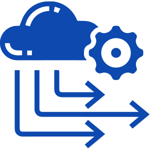 Icon of cloud and gear with arrows pointing out from the bottom