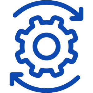 Icon of gear with arrows circling it