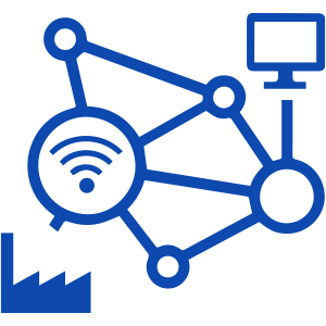 Icon of Wi-Fi symbol, computer and factory icon interconnected with lines and dots