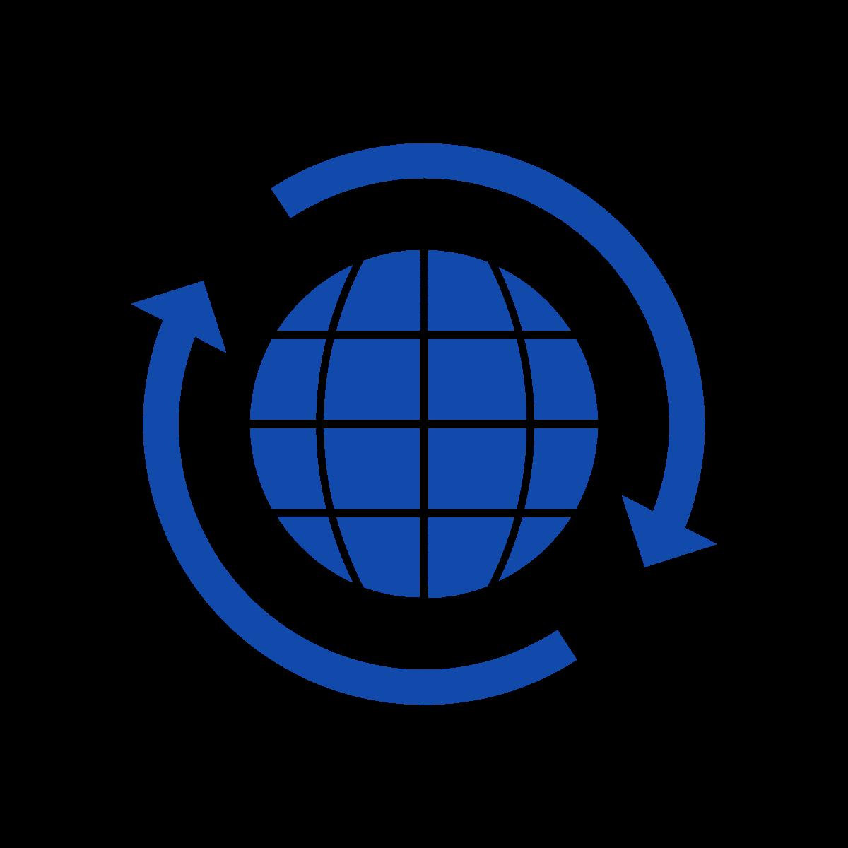 globe with rotating arrows around it