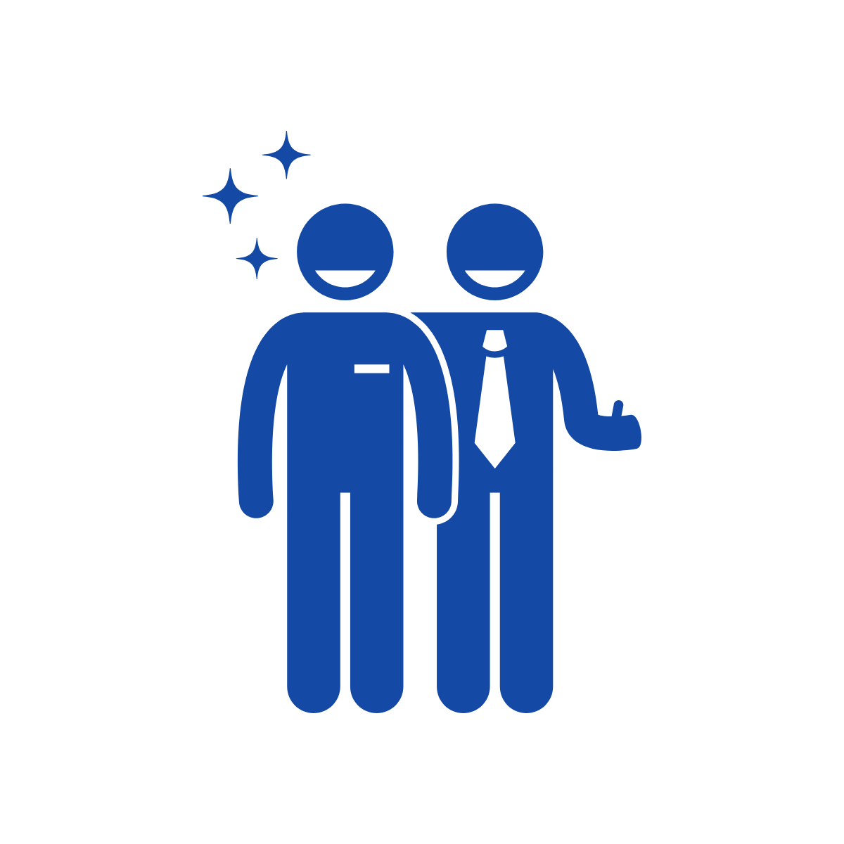 graphic of two people smiling, one with a tie giving a thumbs up