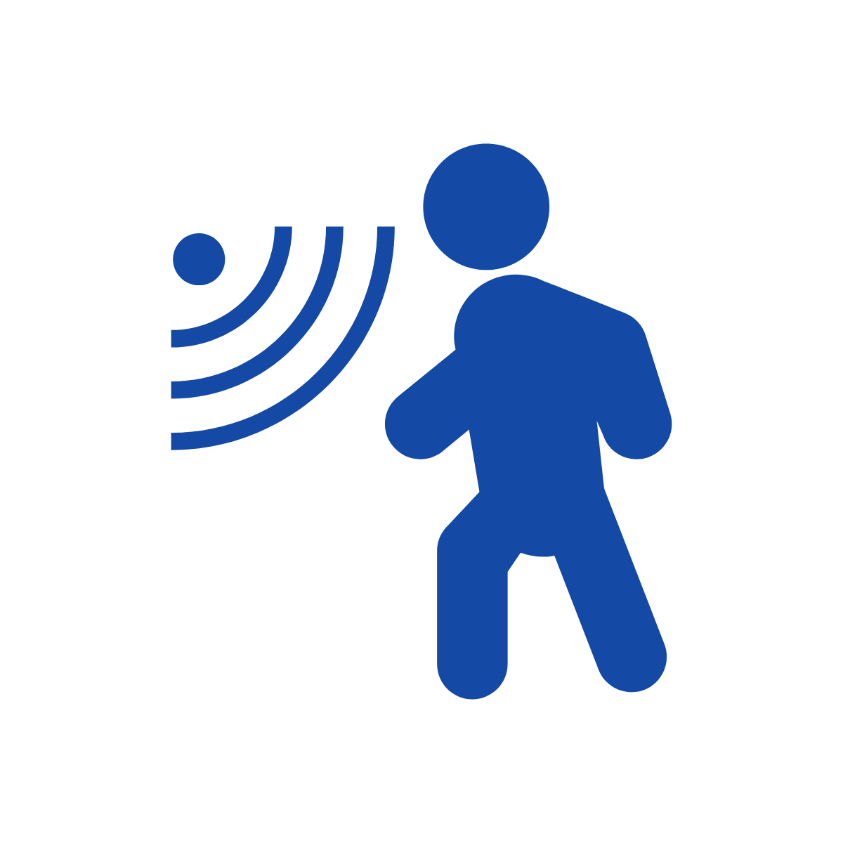 Stick figure of person with sensor waves show person detection