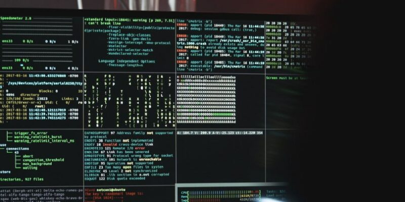 Computer screen with data